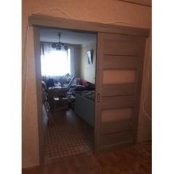 Двери Canneli Сатин белый дуб латте Leador