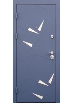 """Двері Алькор Сірий муар зі вставками із нержавіючої сталі-Бетон кремовий """"Very Dveri"""""""