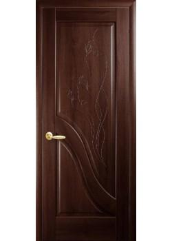 Двері Амата ПГ з гравіровкою каштан Новий Стиль